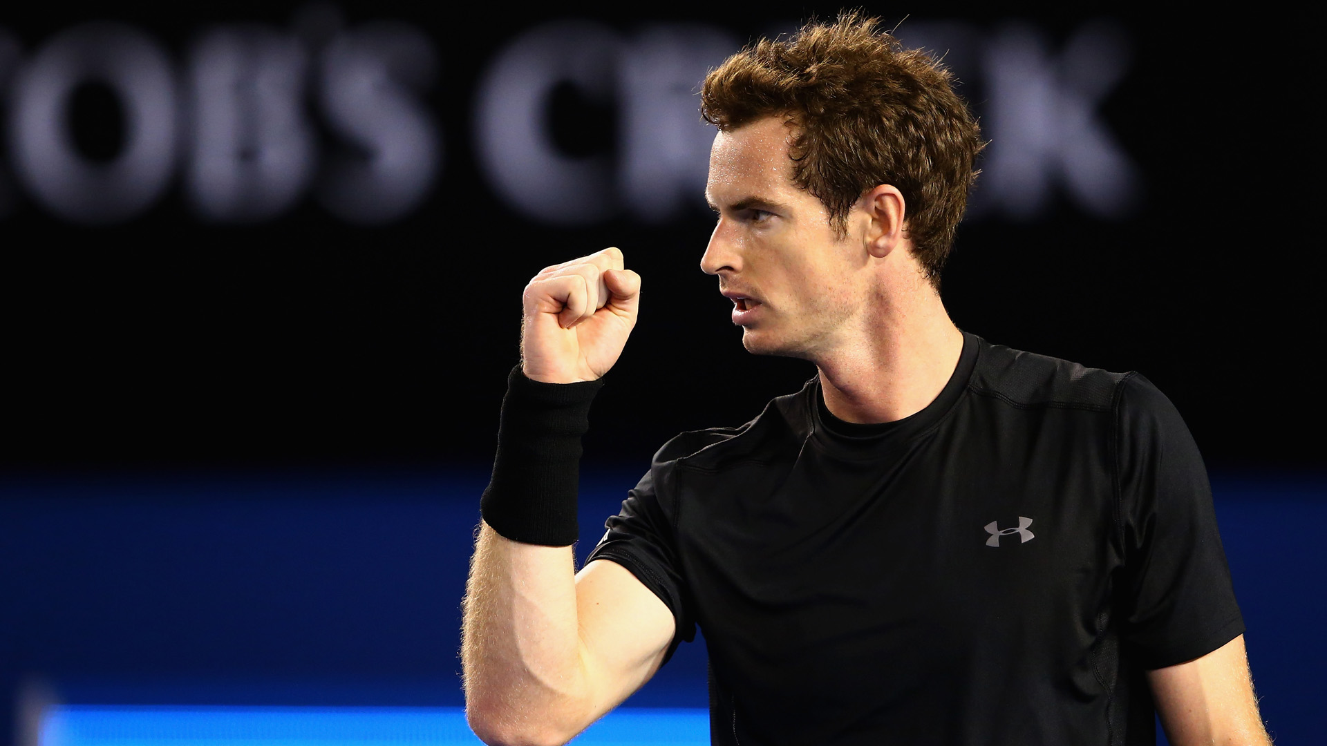 MELBOURNE, AUSTRALIA - JANUARY 25:  Andy Murray of Great Britain celebrates winning the third set in his fourth round match against Grigor Dimitrov of Bulgaria during day seven of the 2015 Australian Open at Melbourne Park on January 25, 2015 in Melbourne, Australia.  (Photo by Clive Brunskill/Getty Images)